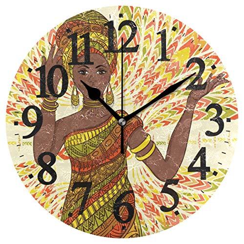 Lewiuzr Reloj de Pared Redondo de 9,8 Pulgadas, números arábigos Antiguos Bailando Hermosa Mujer Africana Adorno geométrico étnico