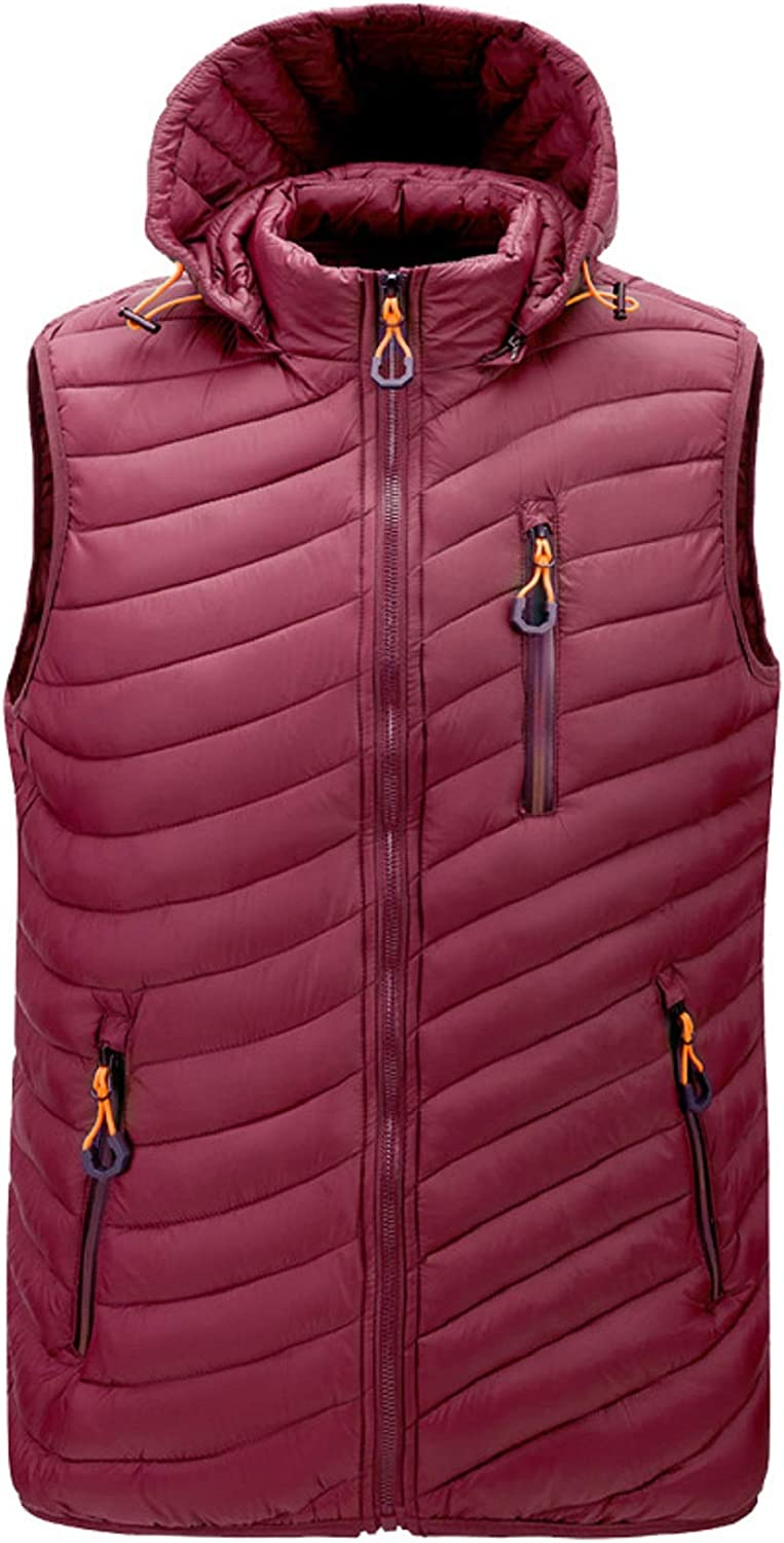 CHARTOU Men's Slim Fit Removable Hooded Chevron Quilted Puffer Vest Jacket