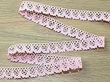 Spitzenborte aus feiner natürlicher Baumwolle, 15 mm, Rosa