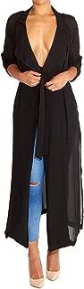 Begonia.K Women's Long Sleeve Chiffon Lightweight Maxi Sheer Duster Cardigan