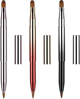 Dual End Lip Brush Concealer Brushes 3 Pieces Retractable Lipstick Eyeshadow Foundation Makeup Brush Tool Applicators Set(Gradient Black, Gradient Red, Bright Pink)