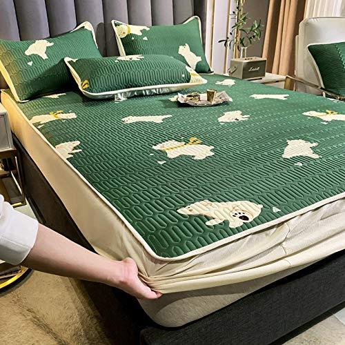 HPPSLT Sábana Ajustable súper Suave, cálida y acogedora Funda de colchón de Tres Piezas-Verde Oscuro_180 * 200cm
