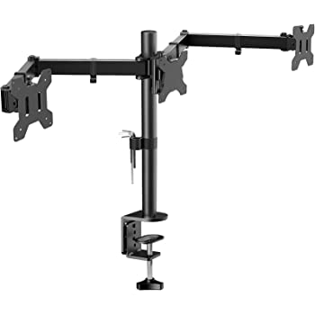 "HUANUO Triple Monitor Mount for 3 Monitors 13-24"" / 2 Monitors 13-35"", Adjustable Monitor Arm Support Max.8 Kg Per Arm, 2 Mounting Options, 75x75 / 100x100"