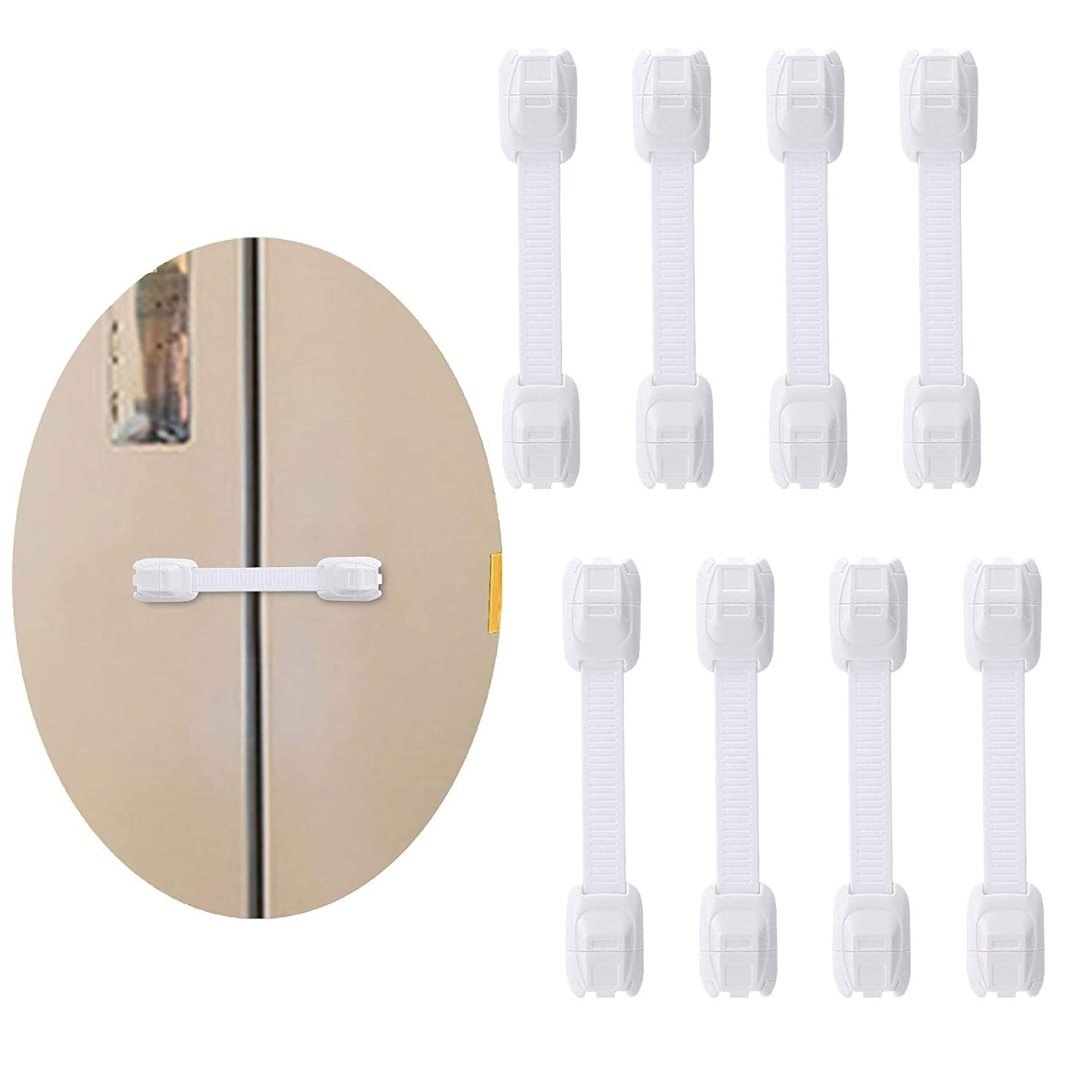 Cabinet Locks for Babies, Child Safety Strap Locks (8 Pack) for Fridge, Drawers, Toilet, Strong Adhesive No Drilling 【Upgrade】