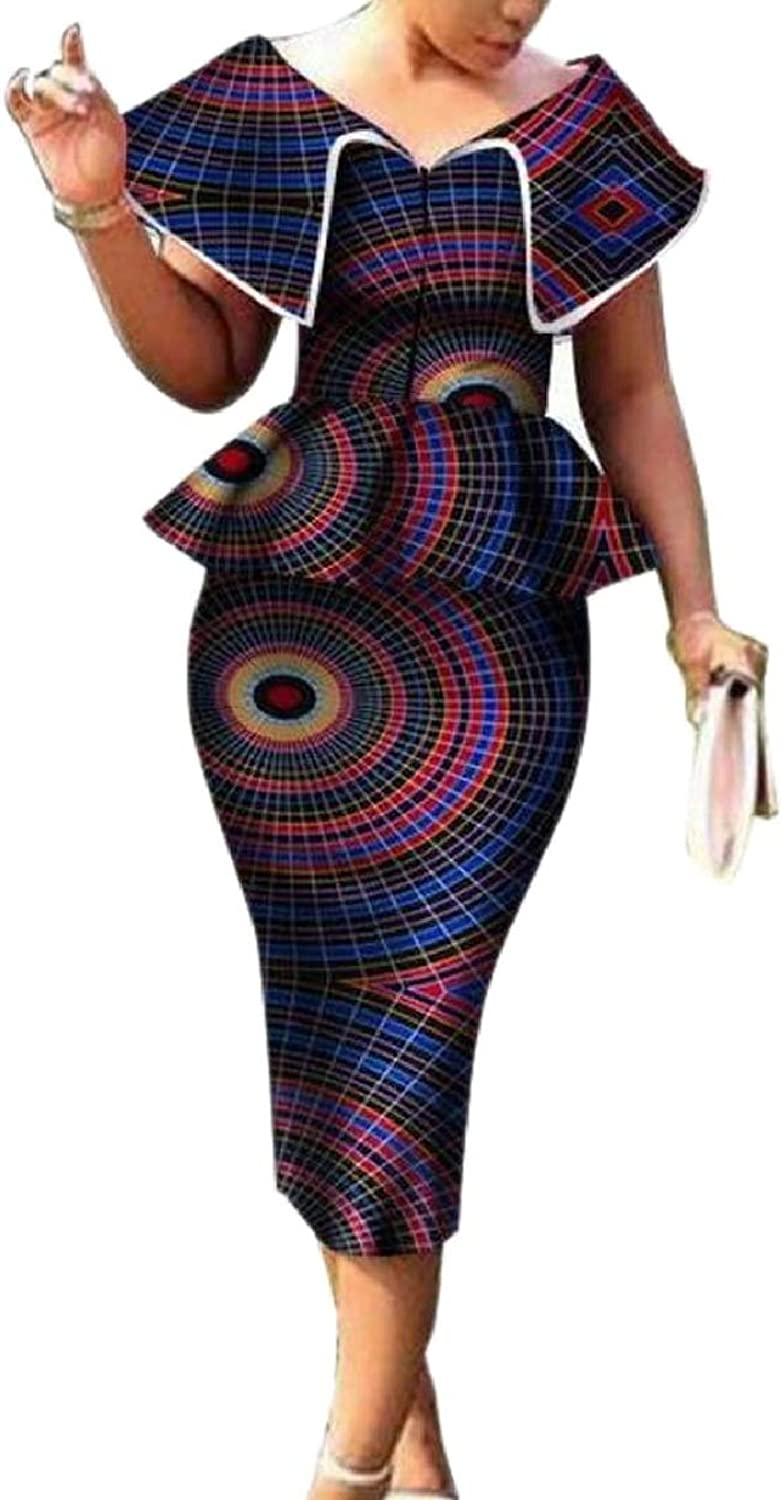LEISHOP Womens Cerement Bodycon Africa Print Top and 2 Piece Stylish Skirt Sets
