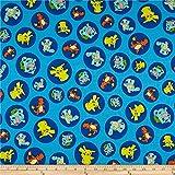 Robert Kaufman Pokemon Charaktere, blauer Stoff, Meterware