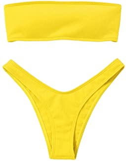 d76698f85bd2b Amazon.com  Yellows - Bikinis   Swimsuits   Cover Ups  Clothing ...