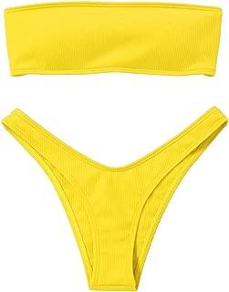 Women Strapless Ribbed High Cut Bandeau Bikini Set