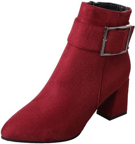 Oudan zapatos botas Moda para mujer, botas para mujer botas de Gamuza botas de tacón con Hebilla zapatos Casuales botas Martin botas Cortas botas de Exterior (Color   rojo, tamaño   40 EU)