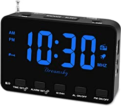 DreamSky Alarm Clock Radio for Bedroom, Small Digital Clock with Backup Battery Outlet Powered, Transistor FM Clock Radio ...