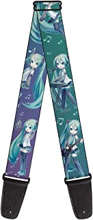 Buckle-Down 2 Inches Wide Guitar Strap - Chibi Hatsune Miku Poses/Music Notes/Grid Aqua-Lavender Fade (GS-WHAT005)