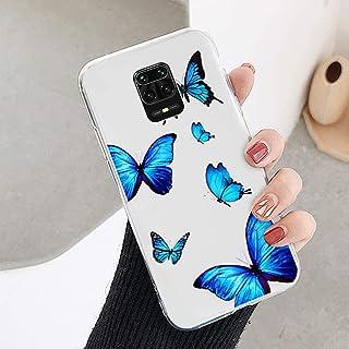 Compatibel met Xiaomi Redmi Note 9 Pro hoes, telefoonhoes Xiaomi Redmi Note 9 Pro transparant hoesje blauw vlinder silicon...