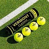 Vermont Klassische Tennisbälle – ITF-genehmigte Bälle aus gewebtem Stoff (1 Rohr / 4 Bälle)