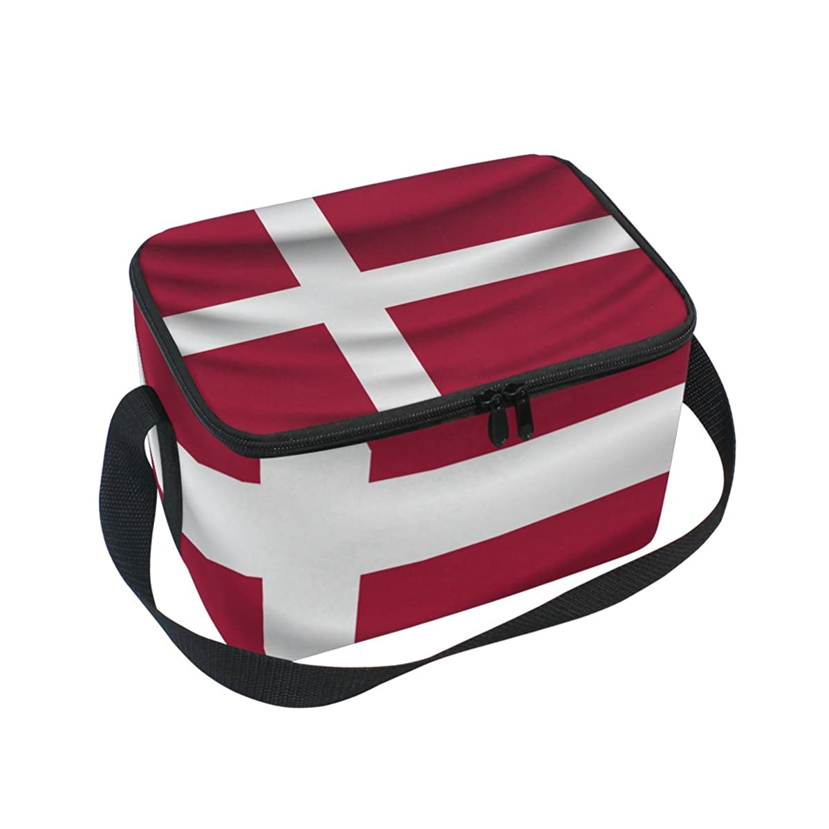 Denmark Flag Insulated Lunch Box Cooler Bag Reusable Tote Outdoor Travel Picnic Bags