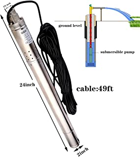 SHYLIYU Bomba de Agua 0.5Hp Cabeza Máxima 50M Bomba Sumergible de Pozo Profundo Calibre de 1-2 Pies 2