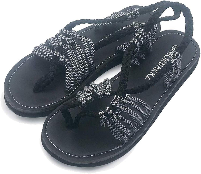 Btrada Women Flat Sandals Summer Bohemian Beach Rope Knit shoes Fashion Clip Toe Slippers Casual Low Heel Wears