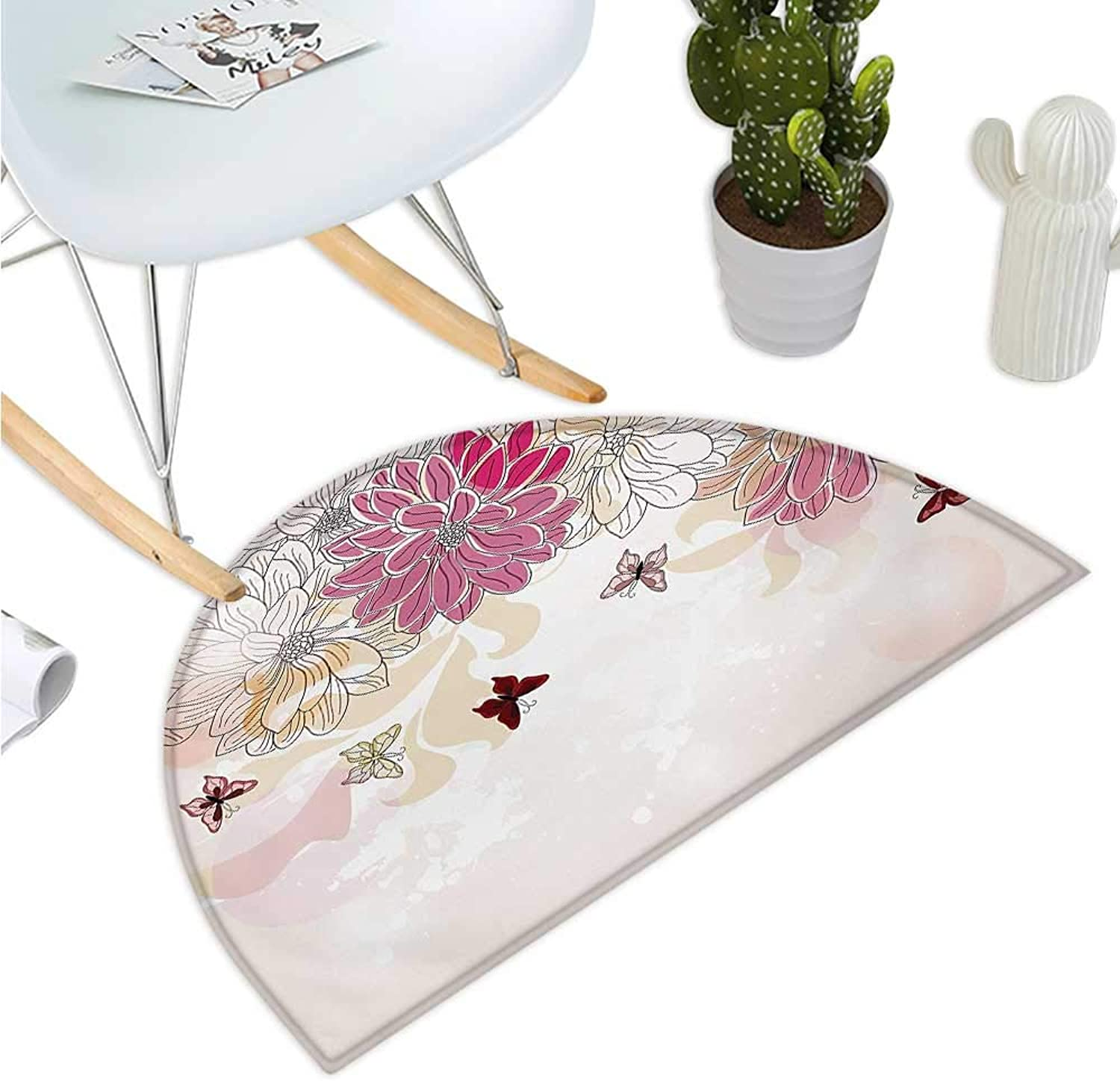 Grunge Semicircular Cushion Baby Pink Petals Spring Composition with Flowers and Butterflies Vintage Style Print Entry Door Mat H 39.3  xD 59  Pink Cream