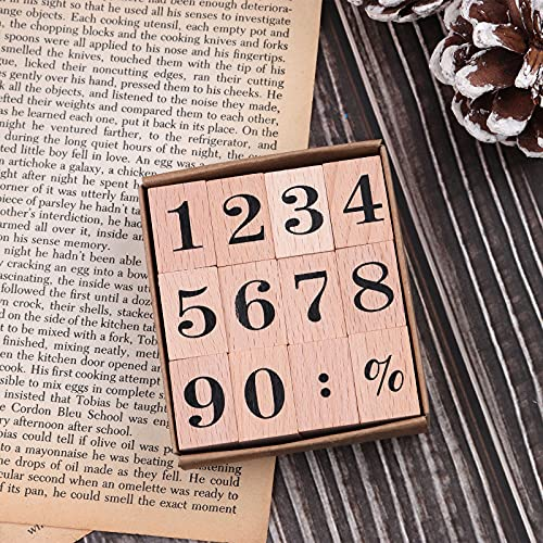 Dizdkizd 12 Pieces Wooden Rubber Stamps, Number 0-9 Decorative Multipurpose Wood Mounted Rubber Stamp Set for DIY Craft, Letters Diary and Craft Scrapbooking