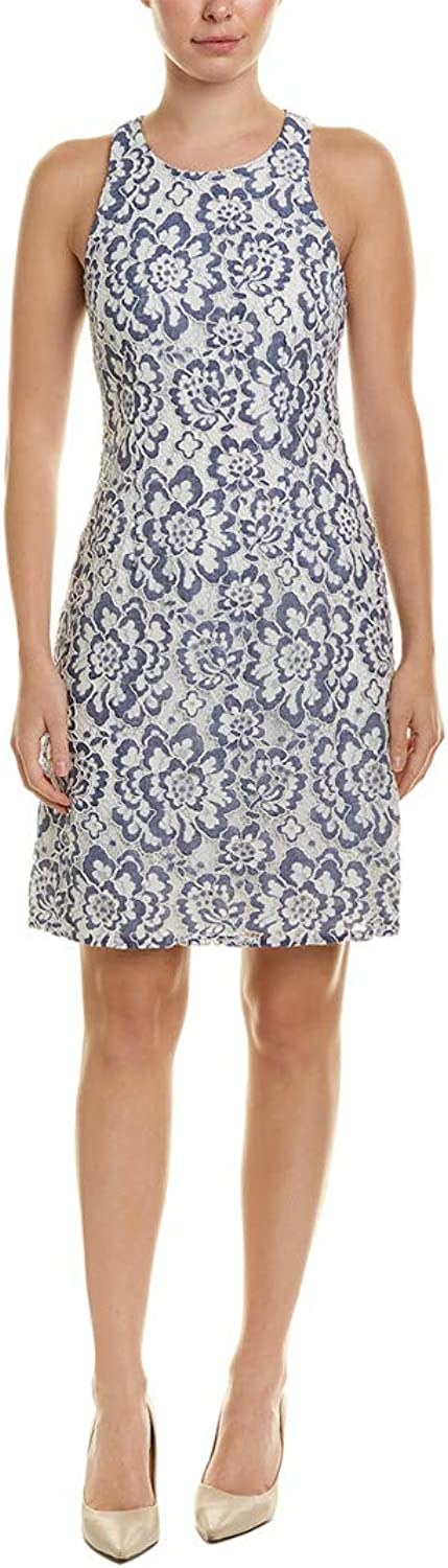 Adrianna Papell Women's Elise Lace A Line Dress bluee White 16