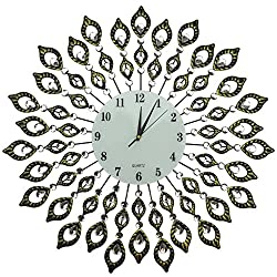 """Lulu Decor, 25"""" Vintage Metal Wall Clock, 9"""" White Glass Dial with Arabic Numerals, Decorative Clock for Living Room, Bedroom, Office Space"""