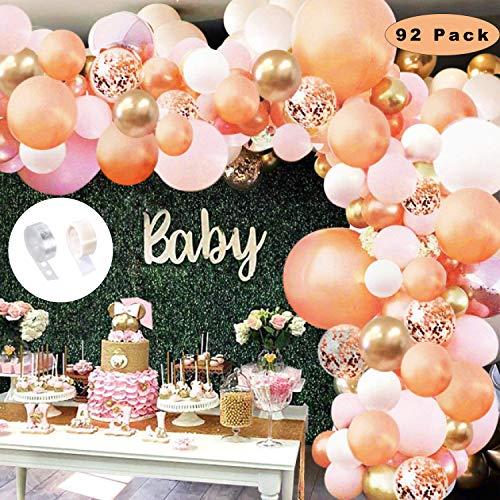 Sunshine smile Luftballons Girlande,Luftballons Rosegold Rose weiß Gold,ballonbogen kit,Latex konfetti Luftballons,Balloons Arch,Luftballons für Party Geburtstag Hochzeit(Roségold)