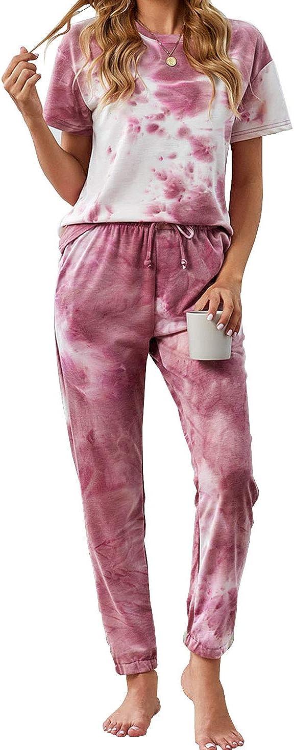 KIRUNDO Women's Two Piece Pajamas Set Tie Dye Printed Short Sleeves T-Shirt Long Pants Joggers Sleepwear Lounge Set with Belt