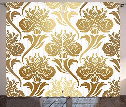 Cortinas de damasco, imagen abstracta de degradado con detalles inspirados en el este, impresión de detalles florales para sala de estar, dormitorio, 2 paneles, 132 x 182 cm, color amarillo caramelo