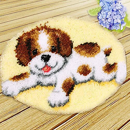 "BLOCE DIY Latch Hook Kits, 20"" X 20"" DIY Crochet Yarn Kits, Dog Crochet Needlework Crafts for DIY Throw Pillow Cover Sofa Car Cushion Cover"