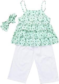 jerferr Baby M/ädchen Leopard R/üschen Weste Pailletten Denim Shorts Sommer Outfits