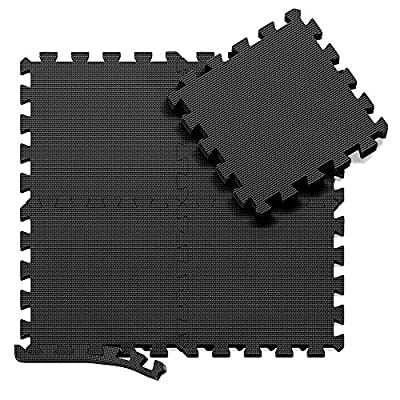 Interlocking Soft Foam Floor Mats - 18 Pieces EVA Puzzle Rubber Tiles Protective Flooring Set - Ground Protector, Surface Protection | Large Underlay Matting - Sports Pool Gym Fitness Basement Garage