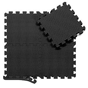 Esterilla Puzzle para Suelos de Gimnasio y Fitness | Set de Protección de Goma Espuma, Alfombrilla Protectora Expandible de 18 Losas + Bordes | Colchonetas Para Máquinas de Deporte, Fácil de Limpia (Esterilla Puzzle black)