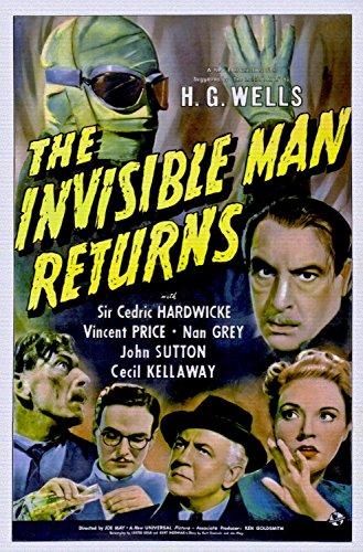 ODSAN The Invisible Man Returns, Cedric Hardwicke & Vincent Price, Nan Grey, 1940 - Foto-Reimpresión película Posters 24x36 pulgadas - sin marco