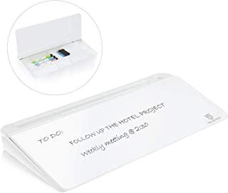 سطح المكتب الزجاجي الصغير سبورة بيضاء جافة - حامل لوحة مفاتيح الكمبيوتر سطح اللوحة البيضاء مع درج، منظمات مكتب مع ملحقات ل...