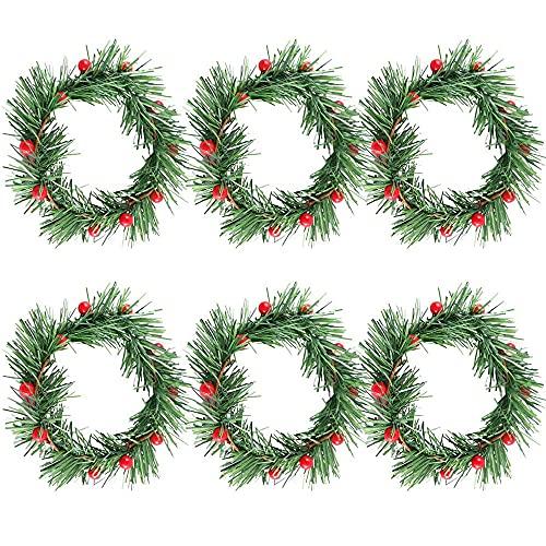 6 Pezzi di Anelli di Candela di Natale, Ghirlanda di Candele Natalizie, Ghirlanda di Natale, Ghirlanda di Bacche Rosse, Ghirlanda Artificiale di Natale, per Decorazioni Natalizie da Tavola