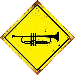 Joycenie New Metal Aluminum Sign Trumpet Symbol Diamond Art Band Music Orchestra Caution Decor Novelty Art Sign for Indoor Outdoor Wall Decoration Tin Sign 8x12 Inch