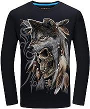 HZKF Skull T-shirt met lange mouwen Heren 3D Gedru...