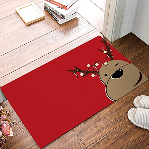 Cloud Dream Home Christmas Moose Door Mats Kitchen Floor Bath Entryway Rug Mat Absorbent Indoor Bathroom Decor Doormats Rubber Non Slip,20x31.5inch