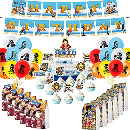 60Pcs Anime One Piece Birthday Party Decorations Set - Happy Birthday Banner Party Balloons Cupcake Toppers Gift Paper Bags for Kids Party Favors Supplies