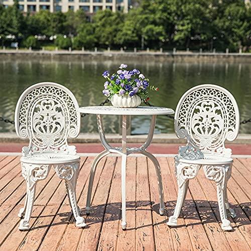 3 Stück Kombination Tisch und Stuhl Outdoor Lounge Stuhl Set, Retro Aluminiumlegierung Tisch und Stuhl Garden Lounge Stuhl Rose/Blatt/Tulpe Muster Wasserdichter Sonnenschutz Patio Balkon