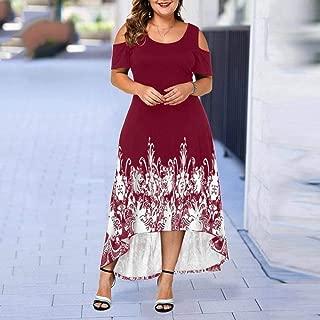 Plus Size Women Casual Short Sleeve Off Shoulder Print Dress Black Dress for Girls Summer Party Beach Dress#40,Red,4XL
