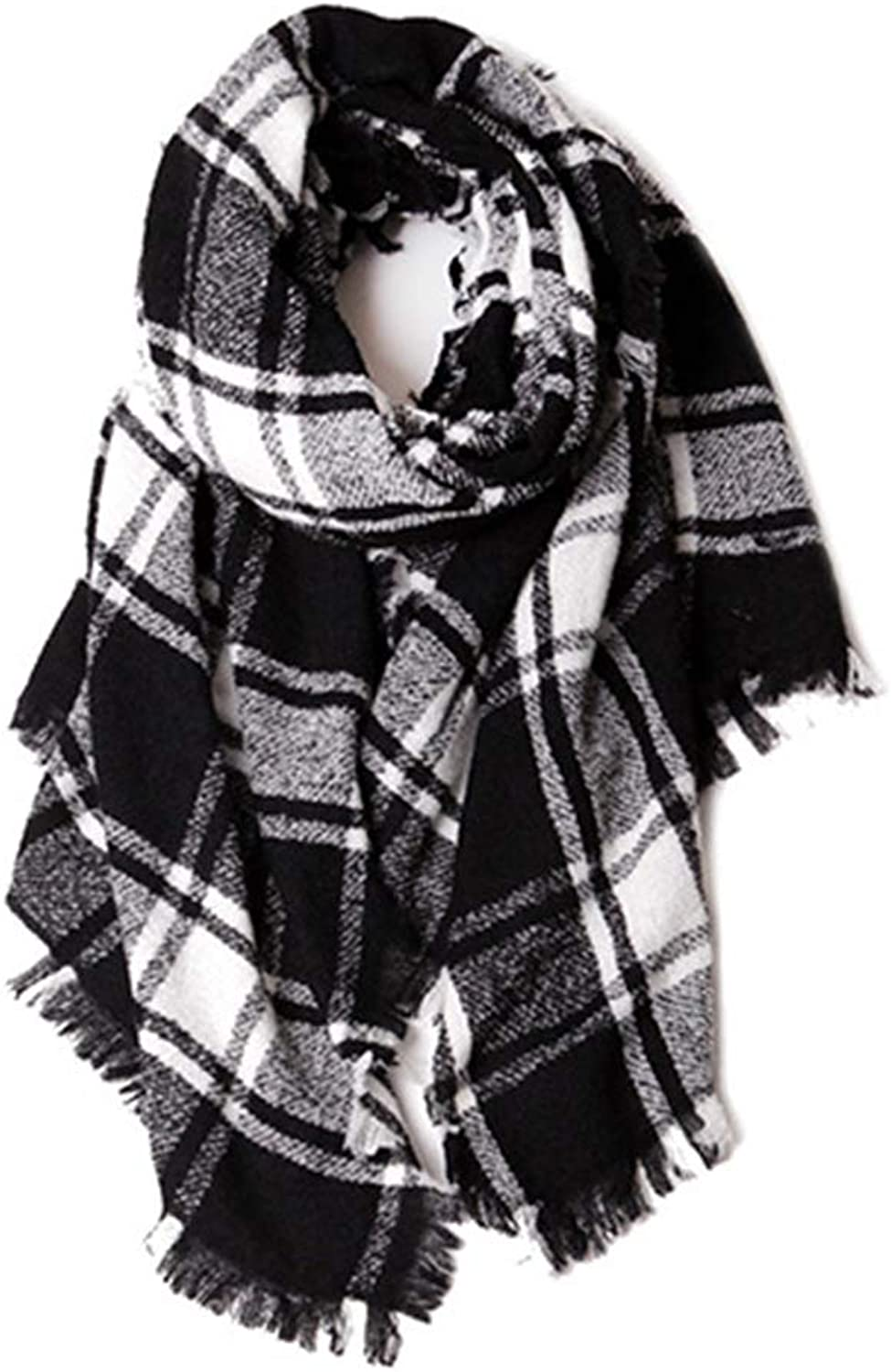 European and American New Comfortable Bib,HighEnd Knitted Scarf Circle Plaid Shawl,DualUse Autumn and Winter Women's Long Wild Scarf,190  80 cm