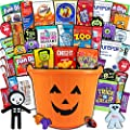 Halloween Pumpkin Bucket (45ct) Already Filled Trick or Treat Snacks Cookies Bars Candy Toys Variety Gift Pack Assortment Basket Bundle Mixed Bulk Sampler for Children Kids Boys Girls College Students