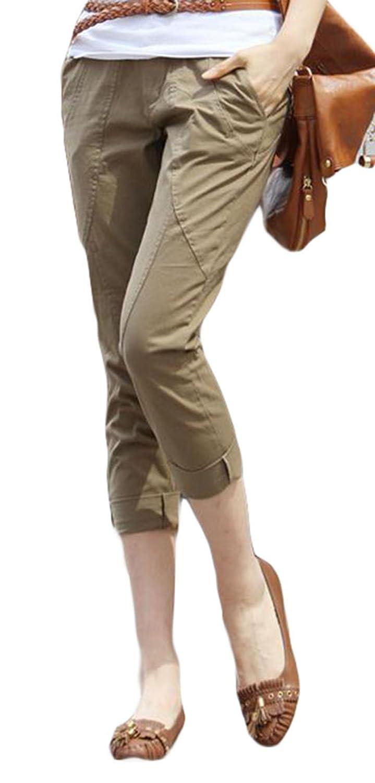 BSCOOLレディース クロップドパンツ 夏 薄手 スリム ハイウエスト パンツ ストレッチ 無地 カジュアルパンツ 大きいサイズ