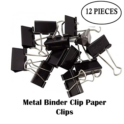 Saisan Binder Clip 41mm Paper Holding Capacity Files Organized And Secure 12 Pcs