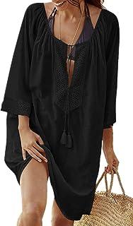 L-Peach Donna Cotone Pizzo Parei Copricostumi Bikini Cover Up Lunga Camicia Tunica Abito da Spiaggia Mini Abito Vestito Beachwear