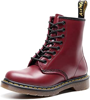 Dr. Martin unisex boots British wind couple leather booties Leather motorcycle boots Unisex Adults' Boots Oxford Boots Soles Comfortable Non-slip Wear-resistant (Color : Red, Size : 48)