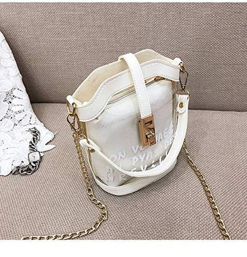 Thumby Transparante dames tas vrouwelijke zomer gelei tas mode ketting hand riem schouder slung emmer zak, Off-white,One size