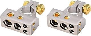 2x 0/4/8 Auto Car Positive Negative Battery Terminal Platinum -USwareh-Automobiles & Motorcycles Auto Parts - (Silver)