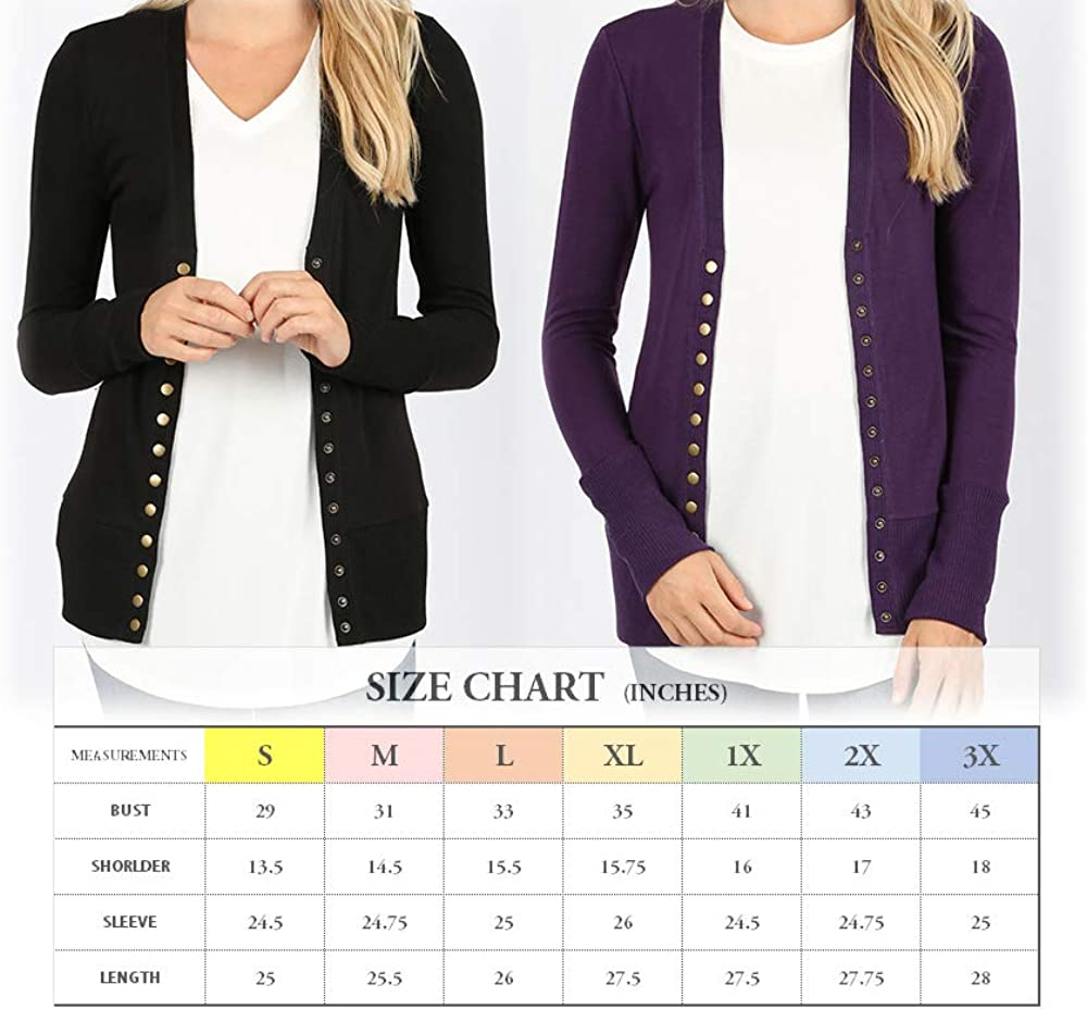Women's Basic Snap Button Ribbed Detail Long Sleeve Sweater Cardigan