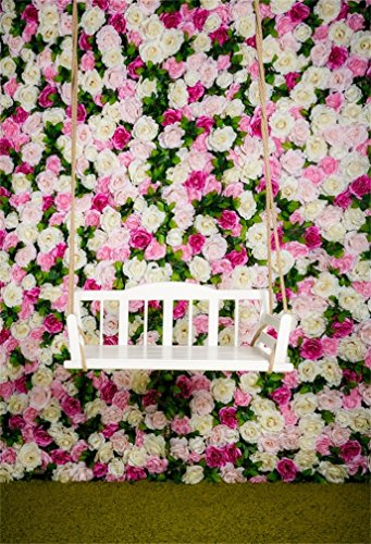 DASHAN 3x5ft Photography Backdrop Valentine's Day Fancy Rose Flowers Grass Field Swing Romantic Photo Background Backdrops Photography Photo Shoot Party Kids Personal Portrait Photo Studio Props
